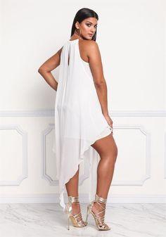 Plus Size Clothing | Plus Size Chiffon Chain Strap Ruffle Midi Dress | Debshops