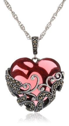Sterling Silver Oxidized Marcasite and Garnet Colored Glass Filigree Heart Pendant Necklace