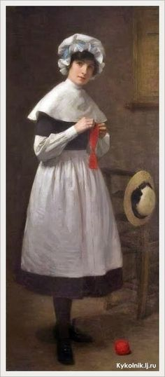 """""""Muchacha de la Escuela Colchester abrigos azules"""" - """"Colchester Blue Coat School Girl"""" (1914) Frank Daniell (British, 1866–1932) Pintor británico. Red White And Boom, Knitting Quotes, Knit Art, How To Purl Knit, Blue Coats, Art Uk, Vintage Pictures, Female Art, Needlework"""