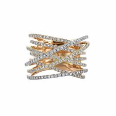 Eight Row Tricolor Gold and Diamond Band Ring