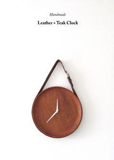 Leather & Teak Clock