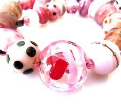 Pink Hotpot Sisters Lampwork Beads SRA Kilo by TripleMoonStar, £30.00
