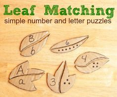 Simple leaf matching puzzles to work on letter and number recognition . Preschool Activity Books, Fall Preschool, Preschool Learning, Classroom Activities, Early Learning, Fun Learning, Preschool Activities, Kindergarten Math, Baby Activites