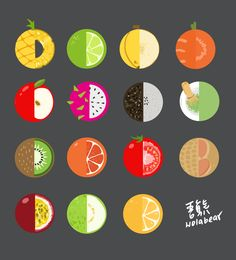 fruits , sesame and matcha. Pitaya, Fruit Illustration, Graphic Design Illustration, Icon Design, Logo Design, Flat Design, Fruit Icons, Fruit Logo, Doodle Art Journals
