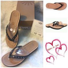 """Ugg Lyndi Sandals Black 8 NWT A cushy PORON footbed adds wonderful support to an essential flip flop detailed with polish studs.  Leather upper 1"""" platform/heel.  Authentic NWT in box! UGG Shoes Sandals"""
