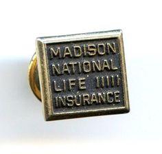 Vintage Madison National Life IIII Insurance Badge Tie Tack Pin Gold Tone
