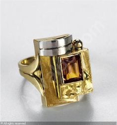 DESPRES Jean, 1889-1980 (France)   Title :  BAGUE  art deco  Date :           Category :  Jewellery     Medium :    : White and yellow gold, citrine     :  Or blanc et jaune, citrine         Title :  BAGUE  ...