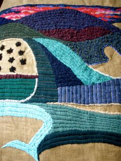 Night in Tuscany. My Tapestry nerina52. OOAK Embroidery landscape Wall Hangings Decorative by nerina52