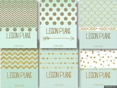 Mint and Gold Lesson Planner Editable 2015-16