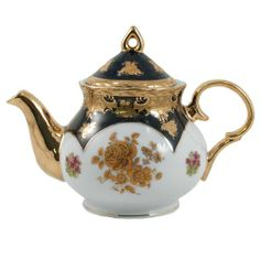 Victorian Antique Teapots | Catalog Detail - Vintage Floral Gold Leaf Victorian Teapot 38 ounces