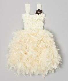 Take a look at this Ivory Feather Dress - Infant, Toddler & Girls by Royal Gem on #zulily today!