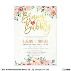 Chic Watercolor Floral Brunch Bubbly Bridal Shower