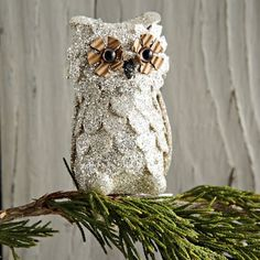 Glitter Owl Ornament (Set of 4) | west elm