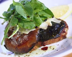 Philip Johnson's E'cco Bistro | Recipes | Field mushrooms on olive toast with rocket, parmesan and truffle oil