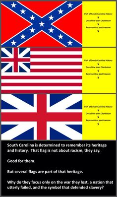 If displaying that flag is about heritage and not racism, then why are the other flags of South Carolina history not given the same reverence?  If you honor only the flag that defended slavery, then slavery is the only history you cling to.