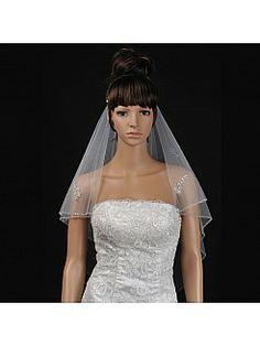 Ivory 2 Tiers Elbow Length Tulle Wedding Veil with Beaded Edge - USD $24.99