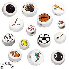 CRYSTALLINE CERAMIC DISC BEADS choice of SPORTS BALLS