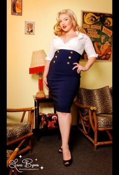 I want this dress when I get to my goal!!    Military Secretary Dress in White and Navy by Pin up Couture