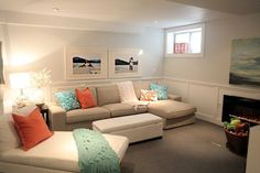 ideas for making a low ceiling in a basement or room feel higher and walls feel taller using low contrast paint