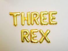 Three Rex Balloons, Three Rex, Dinosaur party, T Rex party, 3rd Birthday Party for Boys, Three Balloons, Three Rex party, Dinosaur Birthday, by girlygifts07 on Etsy https://www.etsy.com/listing/526610018/three-rex-balloons-three-rex-dinosaur