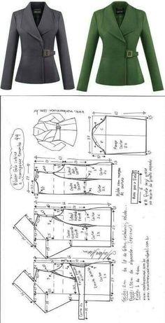 Blazer gola inteira com transpasse - Best Sewing Tips Coat Patterns, Dress Sewing Patterns, Sewing Patterns Free, Clothing Patterns, Coat Pattern Sewing, Blazer Pattern, Jacket Pattern, Fashion Sewing, Diy Fashion