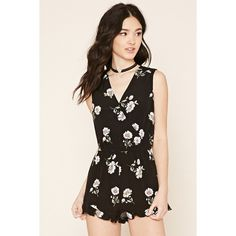 Forever 21 Women's  Floral Print Surplice Romper ($25) ❤ liked on Polyvore featuring jumpsuits, rompers, sleeveless romper, forever 21, forever 21 romper, floral rompers and floral print romper