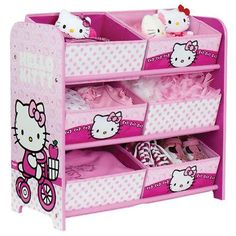 HELLO KITTY 6 BIN STORAGE UNIT ....OMG I would love this for my daughter's room...who am I kidding. I would love it for my room! haha