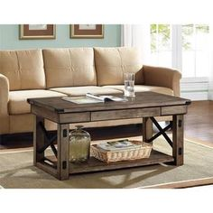Elements Grey/Brown Coffee Table with Shelf - Overstock Shopping - Great Deals on Coffee, Sofa & End Tables