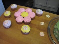 Flower cupcakes. Smarties candies on the singles. :)