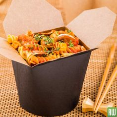 b55f61f9c93 26 oz Round Black Paper Round Noodle Take Out Container - 4