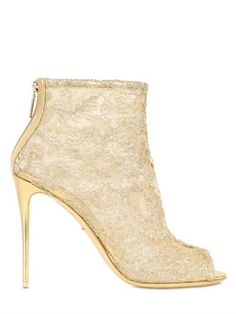 105mm Lurex Macramé Lace Peep-Toe Boots