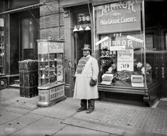 "Circa 1905. ""A living sign on Fifth Avenue, New York City."" Brand ambassador for Dr. Rankin's Dental Parlor, conveniently close to a candy store"