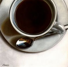 """White Porcelain & Black Coffee"" original fine art by Jelaine Faunce"