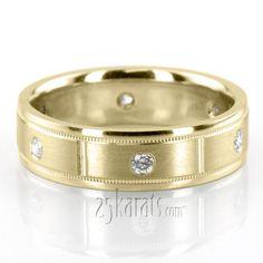 Shiny Edge Milgrain Diamond Wedding Ring