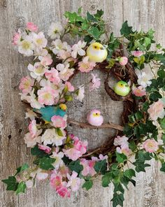 Spring Nest Wreath For Front Door Front Door Wreath Wreaths For Front Door, Door Wreaths, French Cottage Style, Almond Blossom, Easter Season, Natural Home Decor, Vintage Birds, Easter Wreaths, Summer Wreath