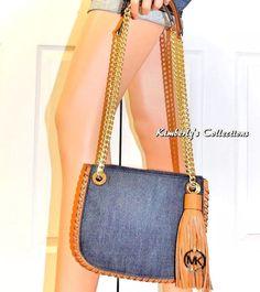 6f6caa27aabd MICHAEL KORS Crossbody Blue Denim Handbag Brown Leather Trim Messenger Bag  NWT | eBay