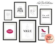 ART PRINT   Pink Girly Collection   Art Print Sets   Digital Download or Physical Print   B&W, Hot Pink Print   Wall Art   Home Décor Girly, Group Art, Pink Art, Decoration, Girl Power, Hot Pink, Digital Art, Gallery Wall, Collections
