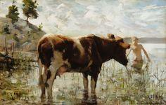 Akseli Gallen-Kallela (1865-1931) Lehmä ja poika / Cow and Boy 1885 - Finland - Finnish cow