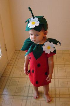 DIY Strawberry  Do It Yourself Baby Costume  Halloween Costume  Strawberry Costume