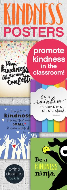 Promote kindness in the school classroom with these fun and unique kindness posters. Hang them in your classroom or the school hallway to remind students every day about the importance of kindness and how you treat others. Click the link to check them out School Social Work, Middle School Classroom, Future Classroom, School Office, Classroom Organization, Classroom Management, Classroom Decor, School Hallway Decorations, School Cafeteria Decorations