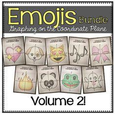 EMOJI Bundle- Volume 2 (Graphing on the Coordinate Plane/ Mystery Pictures) Smiling Cat, Star Eyes, Heart Emoji, Eyes Emoji, Elementary Education, Algebra, Maths, Plane, School Ideas