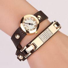 New Arrival Women Vintage Self-Wind Watches Bracelet Women Dress Watch Wristwatches Luxury Fashion Rhinestone Leather
