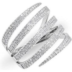 Anne Sisteron 14kt White Gold Diamond 5 Wrap Ring as seen on Carrie Underwood