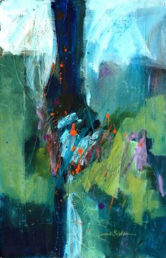 shades of emerald and sapphire in this abstract painting by WA artist Jeannie Grisham