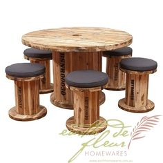 Earth de Fleur Homewares - BOB Senior Spindle Table & Chair Outdoor Dining Patio Setting Recycled Furniture