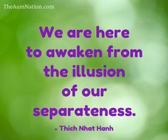 """""""We are here to awaken from the illusion of our separateness."""" - Thich Nhat Hanh"""