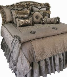 Designer Luxury Bedding Versailles - Soft Warm Gray and Tan Damask is combined with Metallic Linen, Smokey Pin Stiped Organza and a Faux Croc Leather for a look that is Subtle and Romantic. The Versailles Collection is rich with Details! Best Bedding Sets, Luxury Bedding Sets, Comforter Sets, King Comforter, Beautiful Bedding Sets, Romantic Bedding, Damask Bedding, Linen Bedding, Bed Linens