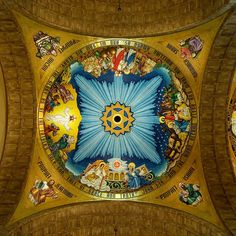Close up of the Knights of Columbus Incarnation Dome at the Basilica of the National Shrine of the Immaculate Conception in Washington, DC- The Incarnation Dome is located on the ceiling of the Upper level of the Basilica. Knights Hospitaller, Knights Templar, Catholic Religion, Catholic Churches, Knight Orders, Ravenna Mosaics, Knights Of Columbus, The Transfiguration, Immaculate Conception