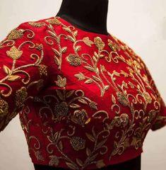 Pattu Saree Blouse Designs, Silk Saree Blouse Designs, Fancy Blouse Designs, Bridal Blouse Designs, Blouse Neck Designs, Silk Sarees, Zardosi Work Blouse, Blouse Patterns, Red Blouse Saree