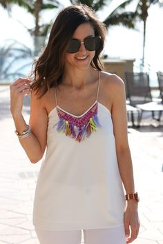 White Fringe Top @co